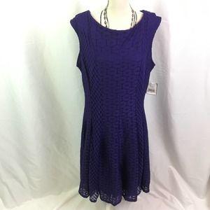 Danny & Nicole Lace Fit & Flare Dress Purple 10
